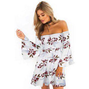 Floral Long Sleeve Off Shoulder Mini Dress
